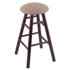 Oak Round Cushion Counter Stool with Smooth Legs, Dark Cherry Finish, Rein Thatch Seat, and 360 Swivel