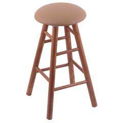 Oak Round Cushion Bar Stool with Smooth Legs, Medium Finish, Allante Beechwood Seat, and 360 Swivel