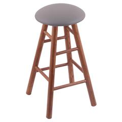 Oak Round Cushion Counter Stool with Smooth Legs, Medium Finish, Allante Medium Grey Seat, and 360 Swivel