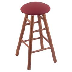 Oak Round Cushion Counter Stool with Smooth Legs, Medium Finish, Allante Wine Seat, and 360 Swivel