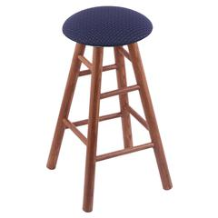 Holland Bar Stool Co. Oak Round Cushion Counter Stool with Smooth Legs, Medium Finish, Axis Denim Seat, and 360 Swivel