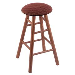 Oak Round Cushion Bar Stool with Smooth Legs, Medium Finish, Axis Paprika Seat, and 360 Swivel