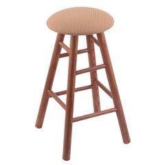 Oak Round Cushion Extra Tall Bar Stool with Smooth Legs, Medium Finish, Axis Summer Seat, and 360 Swivel