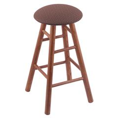 Holland Bar Stool Co. Oak Round Cushion Extra Tall Bar Stool with Smooth Legs, Medium Finish, Axis Willow Seat, and 360 Swivel