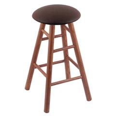 Oak Round Cushion Bar Stool with Smooth Legs, Medium Finish, Rein Coffee Seat, and 360 Swivel