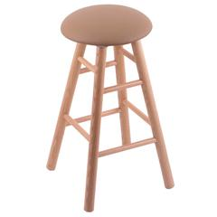 Oak Round Cushion Counter Stool with Smooth Legs, Natural Finish, Allante Beechwood Seat, and 360 Swivel