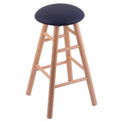 Oak Round Cushion Extra Tall Bar Stool with Smooth Legs, Natural Finish, Allante Dark Blue Seat, and 360 Swivel