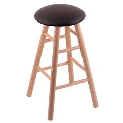 Oak Round Cushion Counter Stool with Smooth Legs, Natural Finish, Allante Espresso Seat, and 360 Swivel