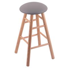 Holland Bar Stool Co. Oak Round Cushion Bar Stool with Smooth Legs, Natural Finish, Allante Medium Grey Seat, and 360 Swivel