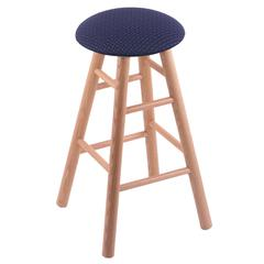 Holland Bar Stool Co. Oak Round Cushion Counter Stool with Smooth Legs, Natural Finish, Axis Denim Seat, and 360 Swivel