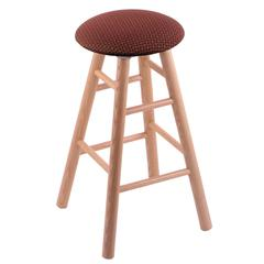 Oak Round Cushion Extra Tall Bar Stool with Smooth Legs, Natural Finish, Axis Paprika Seat, and 360 Swivel