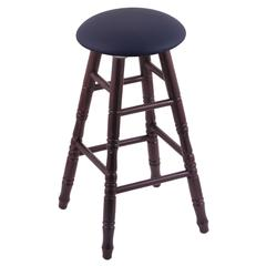 Holland Bar Stool Co. Oak Round Cushion Bar Stool with Turned Legs, Dark Cherry Finish, Allante Dark Blue Seat, and 360 Swivel