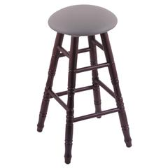 Oak Round Cushion Bar Stool with Turned Legs, Dark Cherry Finish, Allante Medium Grey Seat, and 360 Swivel