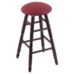 Oak Round Cushion Bar Stool with Turned Legs, Dark Cherry Finish, Allante Wine Seat, and 360 Swivel