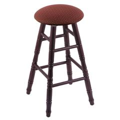 Oak Round Cushion Bar Stool with Turned Legs, Dark Cherry Finish, Axis Paprika Seat, and 360 Swivel