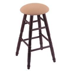 Oak Round Cushion Counter Stool with Turned Legs, Dark Cherry Finish, Axis Summer Seat, and 360 Swivel