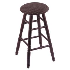Holland Bar Stool Co. Oak Round Cushion Extra Tall Bar Stool with Turned Legs, Dark Cherry Finish, Axis Truffle Seat, and 360 Swivel