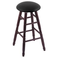Oak Round Cushion Counter Stool with Turned Legs, Dark Cherry Finish, Black Vinyl Seat, and 360 Swivel