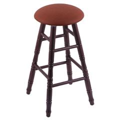 Holland Bar Stool Co. Oak Round Cushion Bar Stool with Turned Legs, Dark Cherry Finish, Rein Adobe Seat, and 360 Swivel