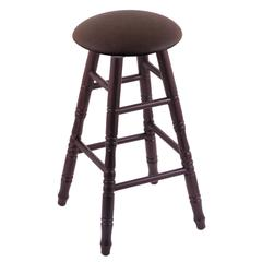 Oak Round Cushion Counter Stool with Turned Legs, Dark Cherry Finish, Rein Coffee Seat, and 360 Swivel