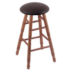 Oak Round Cushion Bar Stool with Turned Legs, Medium Finish, Allante Espresso Seat, and 360 Swivel
