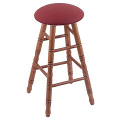 Oak Round Cushion Bar Stool with Turned Legs, Medium Finish, Allante Wine Seat, and 360 Swivel