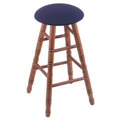 Oak Round Cushion Counter Stool with Turned Legs, Medium Finish, Axis Denim Seat, and 360 Swivel