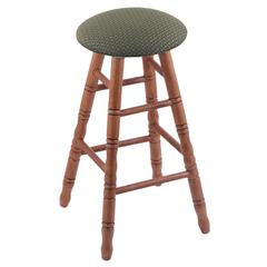 Holland Bar Stool Co. Oak Round Cushion Counter Stool with Turned Legs, Medium Finish, Axis Grove Seat, and 360 Swivel
