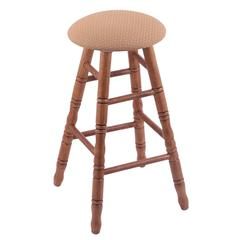 Holland Bar Stool Co. Oak Round Cushion Counter Stool with Turned Legs, Medium Finish, Axis Summer Seat, and 360 Swivel