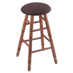 Oak Round Cushion Bar Stool with Turned Legs, Medium Finish, Axis Truffle Seat, and 360 Swivel