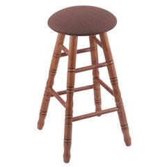 Holland Bar Stool Co. Oak Round Cushion Extra Tall Bar Stool with Turned Legs, Medium Finish, Axis Willow Seat, and 360 Swivel
