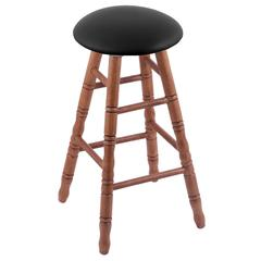 Oak Round Cushion Bar Stool with Turned Legs, Medium Finish, Black Vinyl Seat, and 360 Swivel