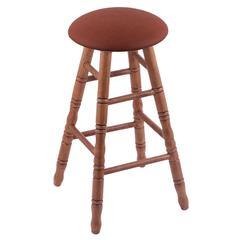 Holland Bar Stool Co. Oak Round Cushion Counter Stool with Turned Legs, Medium Finish, Rein Adobe Seat, and 360 Swivel