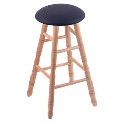 Oak Round Cushion Bar Stool with Turned Legs, Natural Finish, Allante Dark Blue Seat, and 360 Swivel