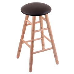 Oak Round Cushion Extra Tall Bar Stool with Turned Legs, Natural Finish, Allante Espresso Seat, and 360 Swivel
