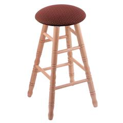 Oak Round Cushion Extra Tall Bar Stool with Turned Legs, Natural Finish, Axis Paprika Seat, and 360 Swivel
