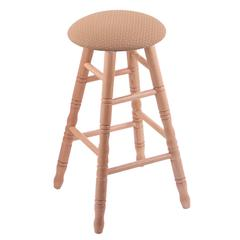 Oak Round Cushion Counter Stool with Turned Legs, Natural Finish, Axis Summer Seat, and 360 Swivel