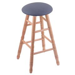 Oak Round Cushion Counter Stool with Turned Legs, Natural Finish, Rein Bay Seat, and 360 Swivel