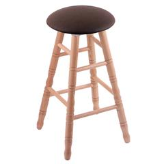 Holland Bar Stool Co. Oak Round Cushion Extra Tall Bar Stool with Turned Legs, Natural Finish, Rein Coffee Seat, and 360 Swivel