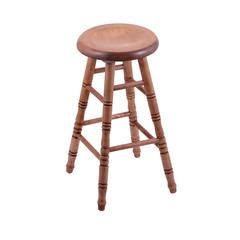 Holland Bar Stool Co. Maple Saddle Dish Bar Stool with Turned Legs, Medium Finish, and 360 Swivel