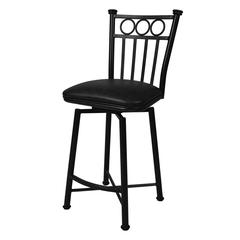 Bostonian Swivel Barstool, Leather Touch Black