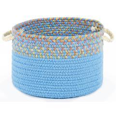 "Kids' Isle Aqua Blue Banded 18"" x 12"" Basket"