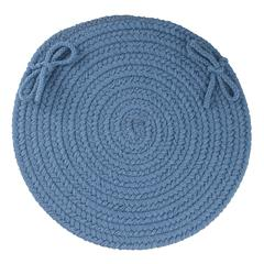 "Rhody Rug WearEver Marina Blue Poly 15"" Chair Pad"