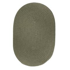 Rhody Rug Solid Moss Green Wool 2X6 Oval