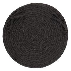 "Solid Black Wool 15"" Chair Pad"