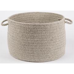 """Rhody Rug Solid Lt. Gray Wool 18"""" x 12"""" Basket"""