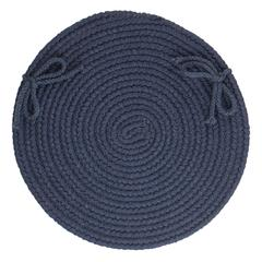 "Rhody Rug Solid Navy Wool 15"" Chair Pad"