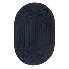 Solid Navy Wool 2X8 Oval