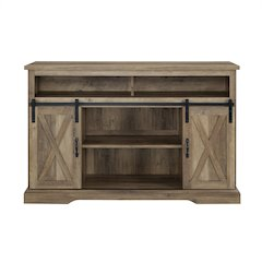 "52"" Modern Farmhouse High Boy Wood TV Stand with Sliding Barn Doors - Rustic Oak"