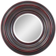 Koch Mirror, Aged Black Finish with Merlot and Gold Highlights, Beveled Mirror